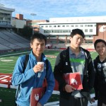 Peter, Steven and Corey at the stadium on campus tour