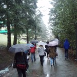 Very wet tour of campus