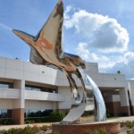 Pathways to the Sky --stunning metal sculpture of flight created when they had to rebuild the campus after a hurricane.