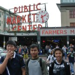 Steven Peter and Corey at the Public Market in Seattle